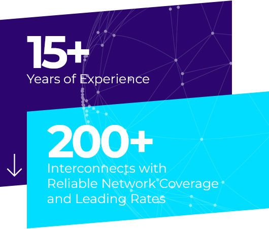 15+ years of experience, 200+ Interconnects with reliable network coverage and leading rates