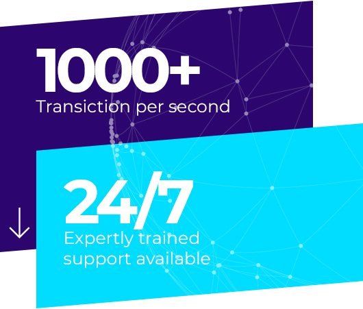 1000+ transiction per second, 24/7 expertly trained support available